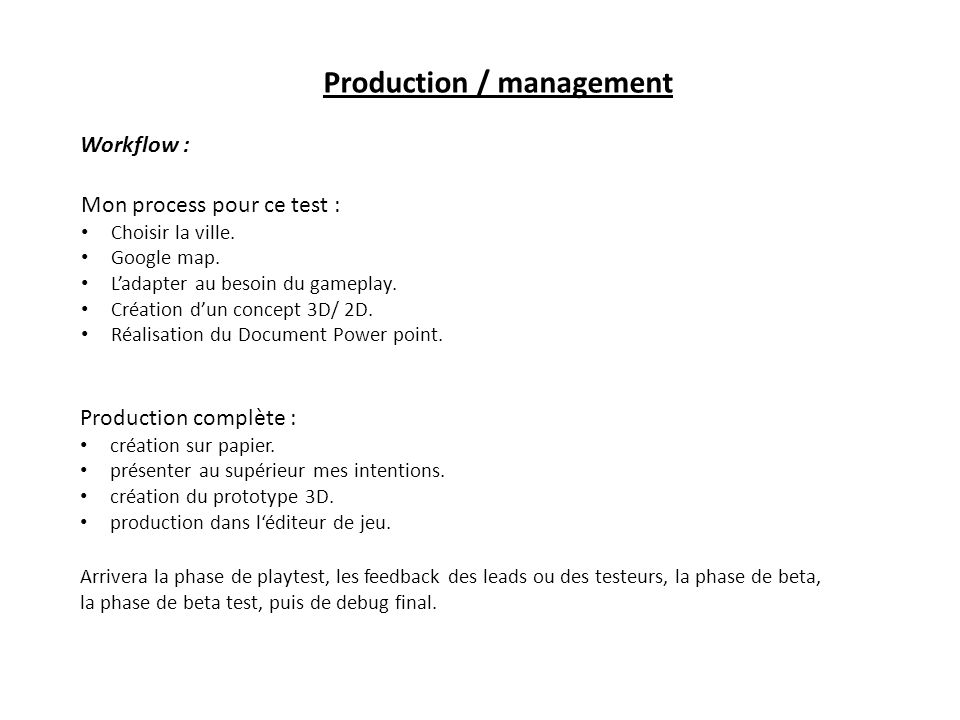 Production / management