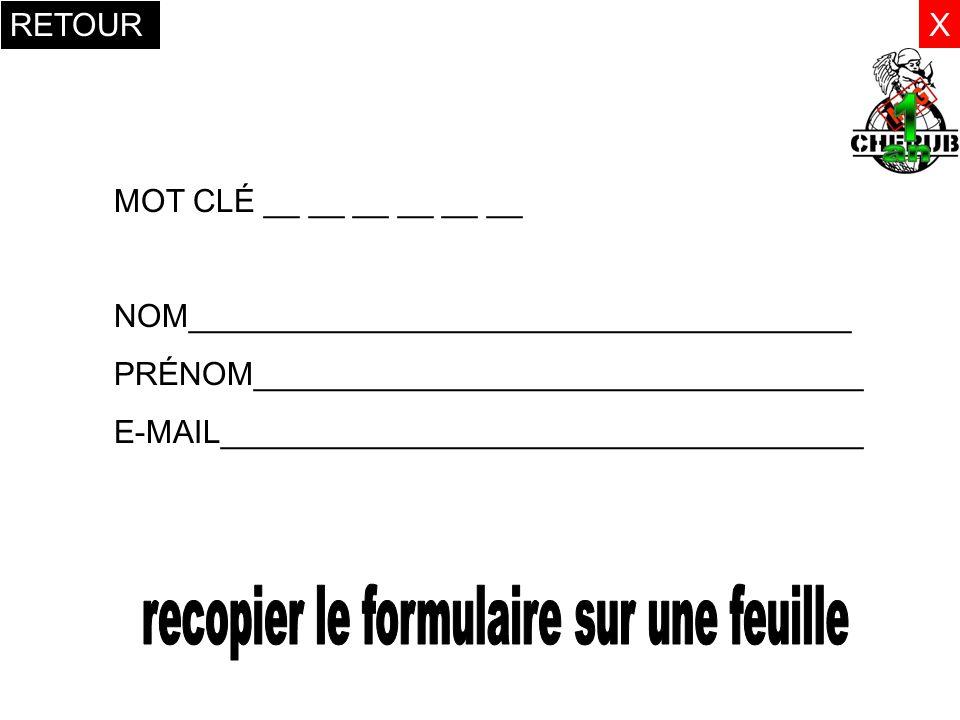 recopier le formulaire sur une feuille