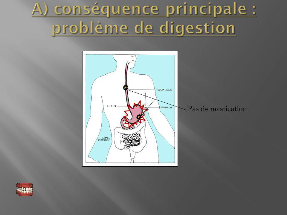 A) conséquence principale : problème de digestion