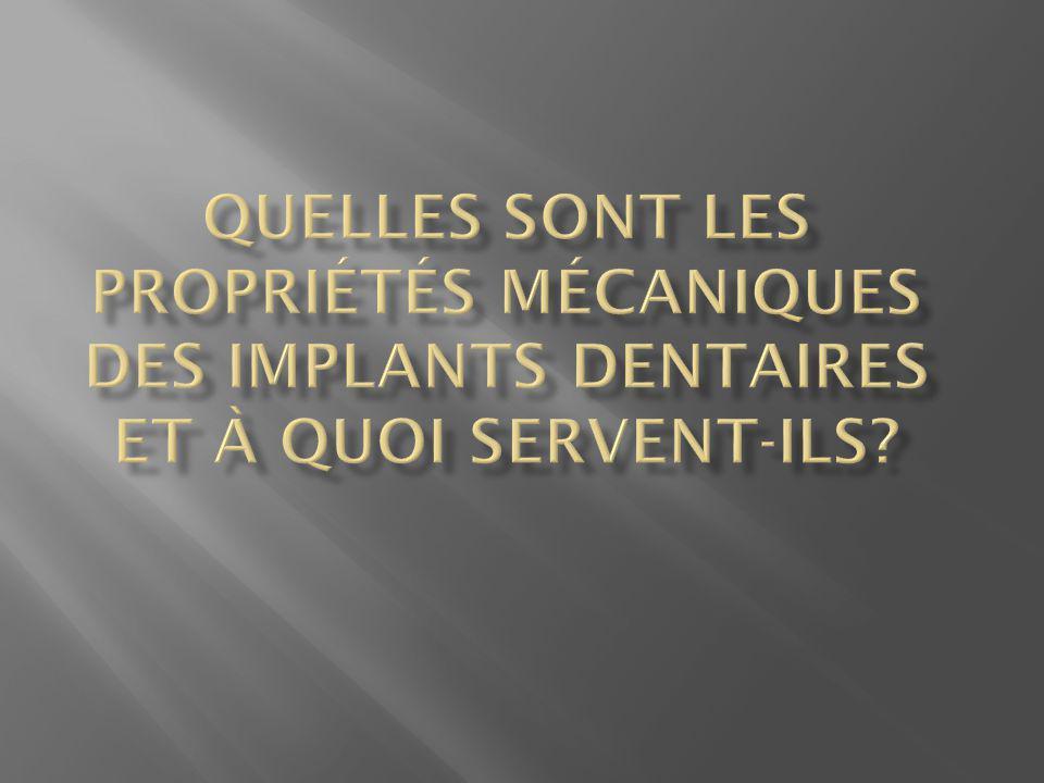 Quelles sont les propriétés mécaniques des implants dentaires et à quoi servent-ils
