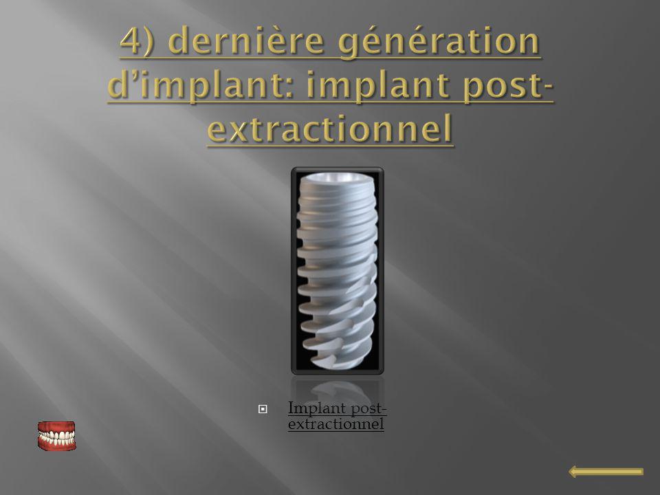 4) dernière génération d'implant: implant post-extractionnel