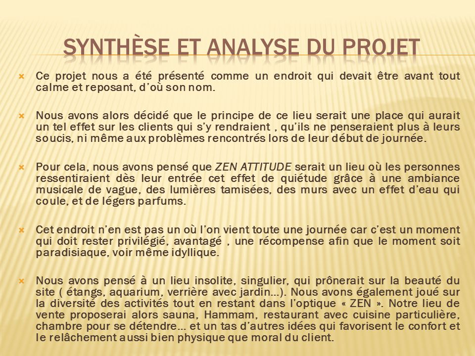 Synthèse et analyse du projet