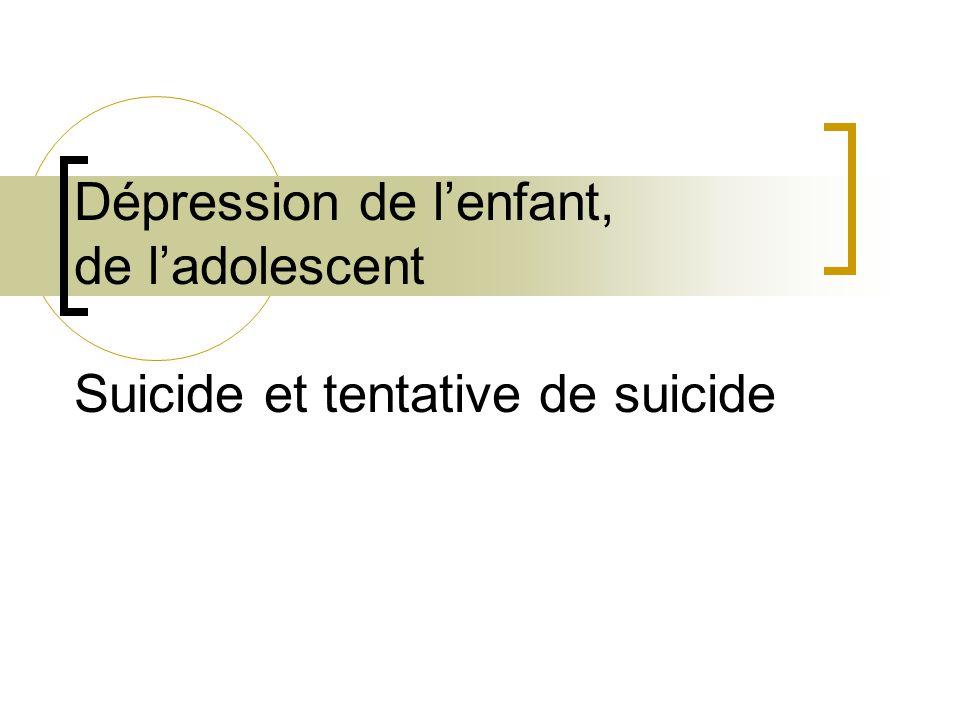 Dépression de l'enfant, de l'adolescent Suicide et tentative de suicide