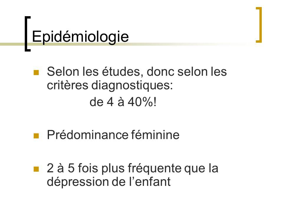Epidémiologie Selon les études, donc selon les critères diagnostiques: