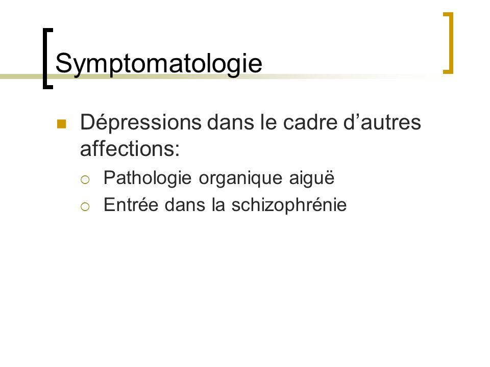 Symptomatologie Dépressions dans le cadre d'autres affections: