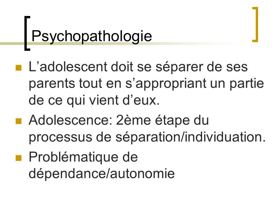 Psychopathologie L'adolescent doit se séparer de ses parents tout en s'appropriant un partie de ce qui vient d'eux.