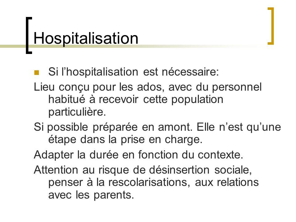 Hospitalisation Si l'hospitalisation est nécessaire: