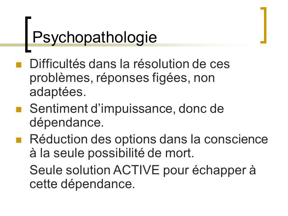 Psychopathologie Difficultés dans la résolution de ces problèmes, réponses figées, non adaptées. Sentiment d'impuissance, donc de dépendance.