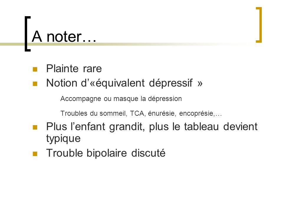 A noter… Plainte rare Notion d'«équivalent dépressif »