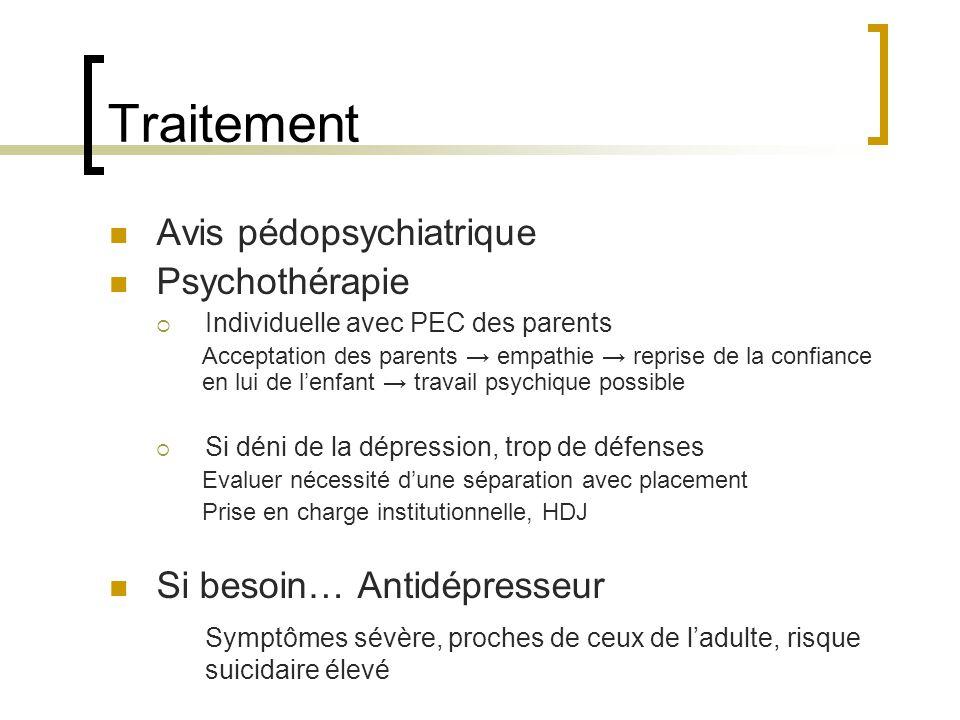 Traitement Avis pédopsychiatrique Psychothérapie