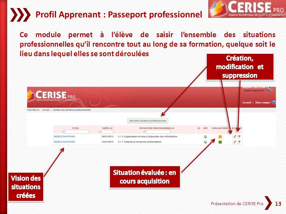 Profil Apprenant : Passeport professionnel