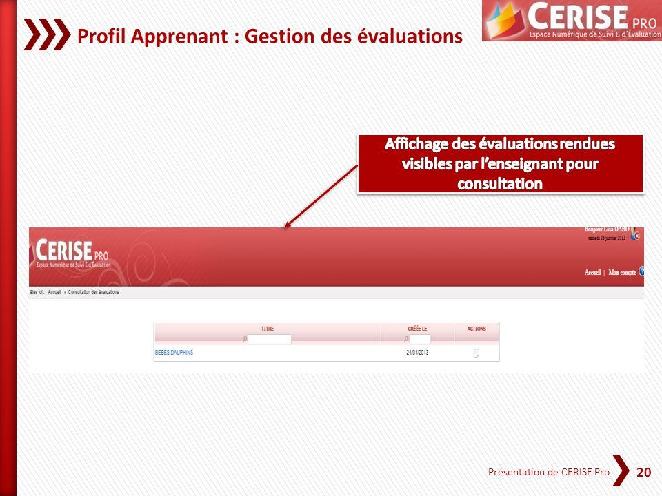 Profil Apprenant : Gestion des évaluations