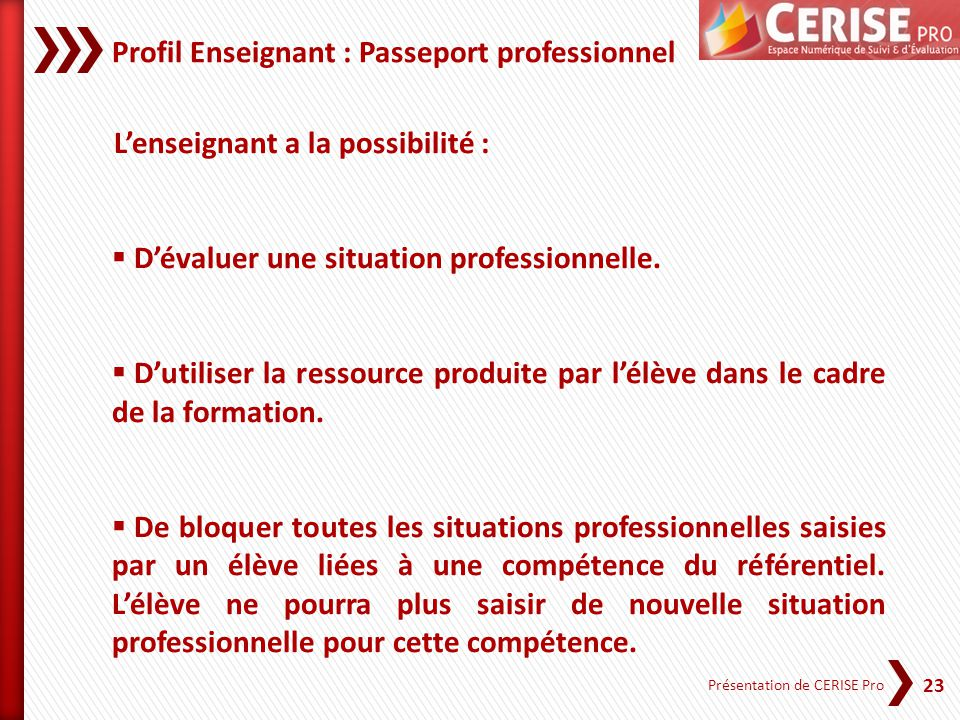 Profil Enseignant : Passeport professionnel