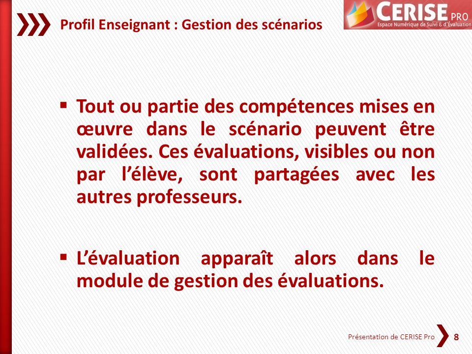 Profil Enseignant : Gestion des scénarios
