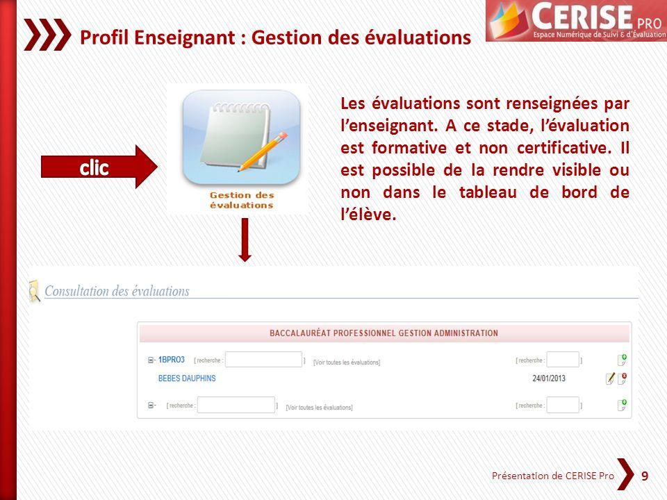 Profil Enseignant : Gestion des évaluations