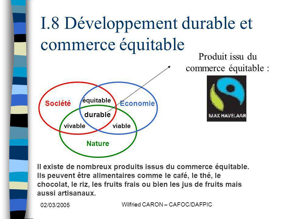 I.8 Développement durable et commerce équitable