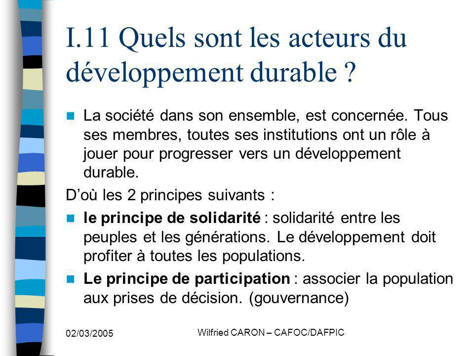 I.11 Quels sont les acteurs du développement durable