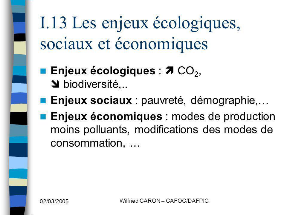 I.13 Les enjeux écologiques, sociaux et économiques