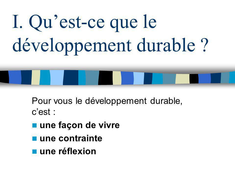 I. Qu'est-ce que le développement durable