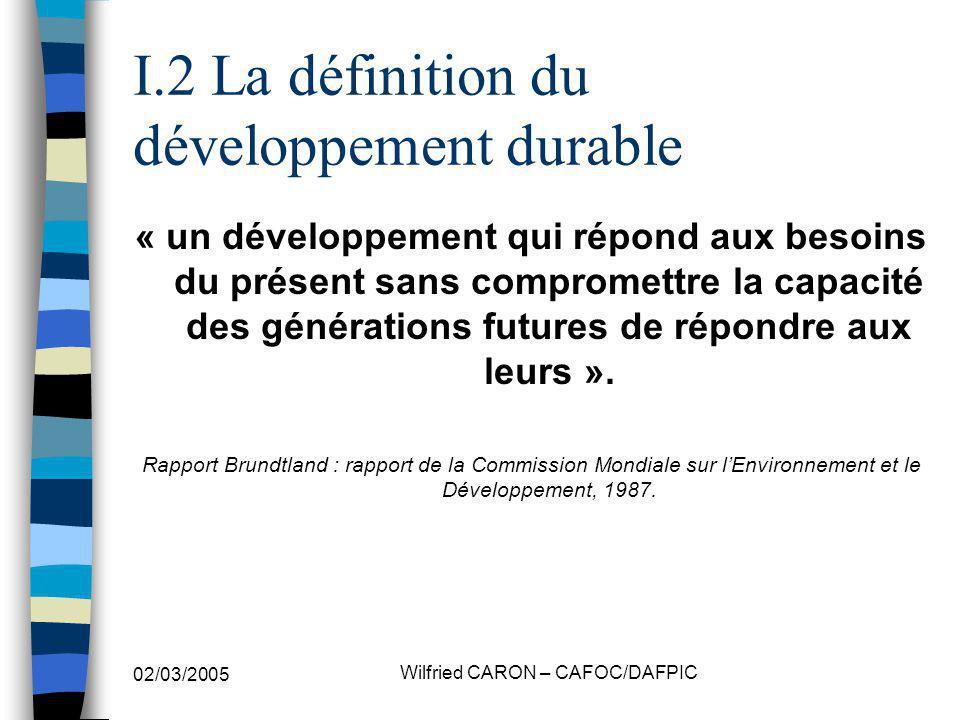 I.2 La définition du développement durable
