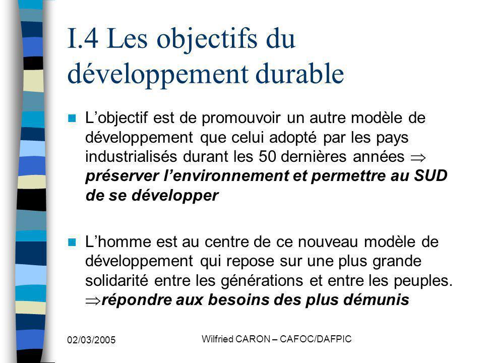 I.4 Les objectifs du développement durable
