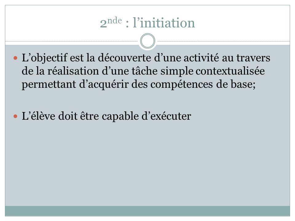 2nde : l'initiation