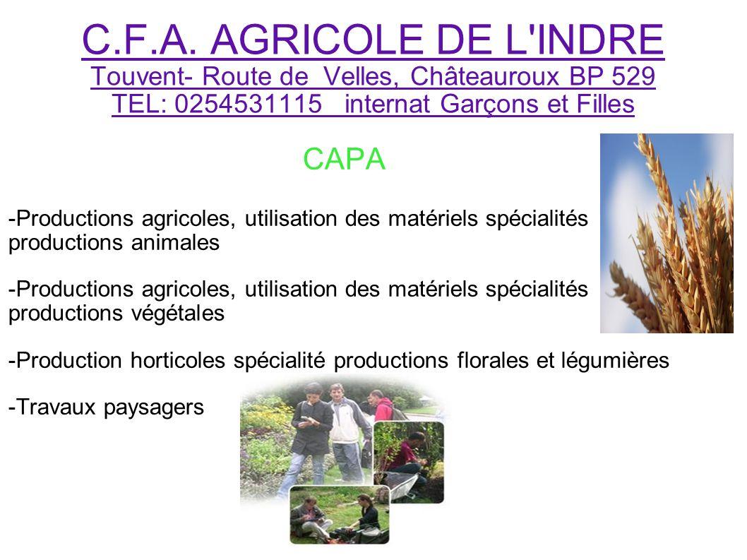 C.F.A. AGRICOLE DE L INDRE Touvent- Route de Velles, Châteauroux BP 529 TEL: 0254531115 internat Garçons et Filles