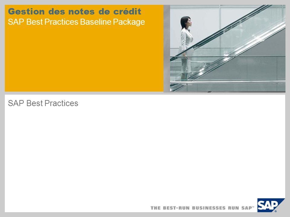 Gestion des notes de crédit SAP Best Practices Baseline Package
