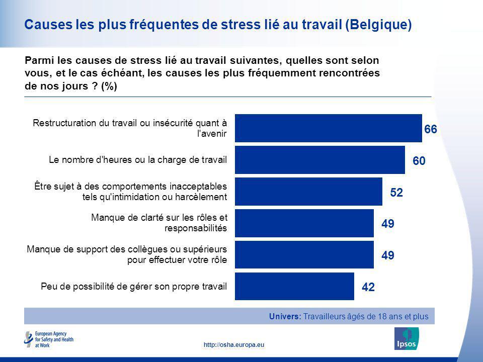 Causes les plus fréquentes de stress lié au travail (Belgique)