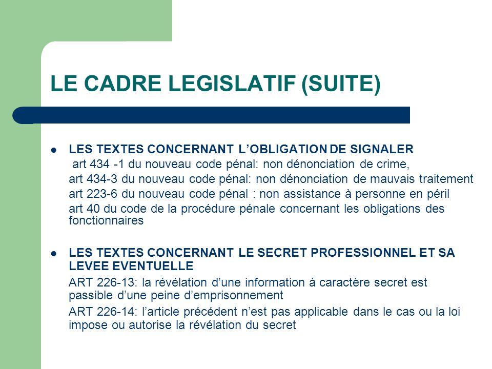 LE CADRE LEGISLATIF (SUITE)