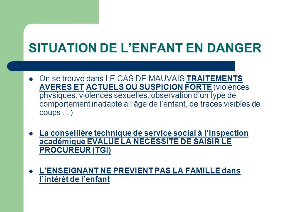 SITUATION DE L'ENFANT EN DANGER