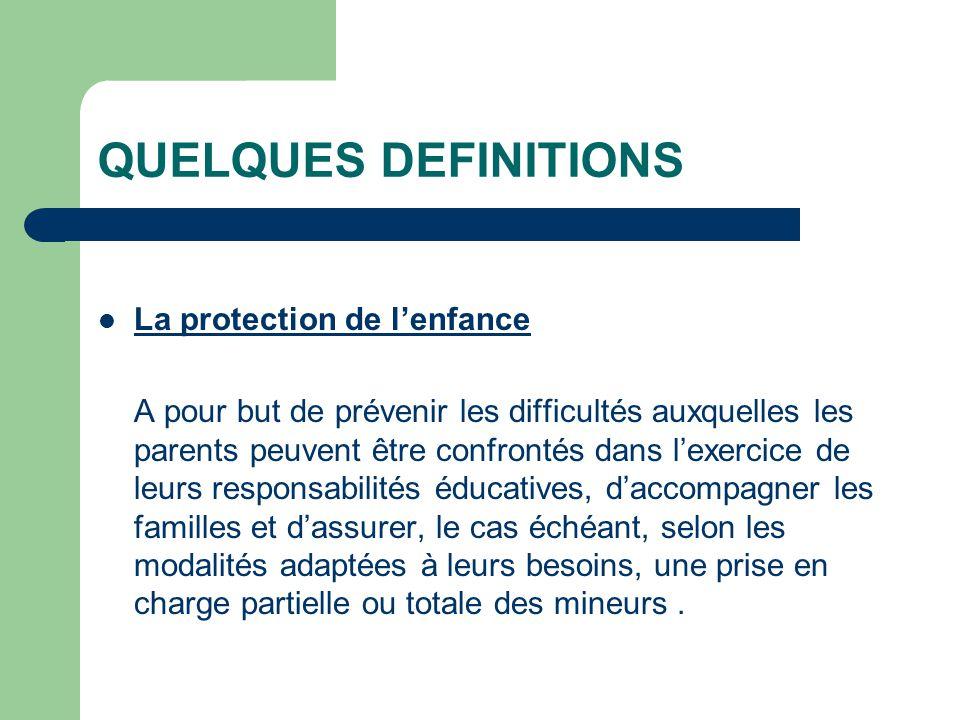 QUELQUES DEFINITIONS La protection de l'enfance