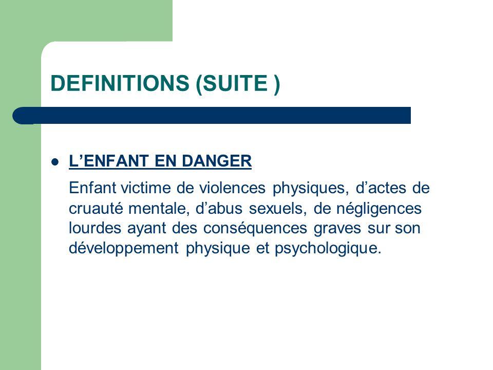 DEFINITIONS (SUITE ) L'ENFANT EN DANGER.
