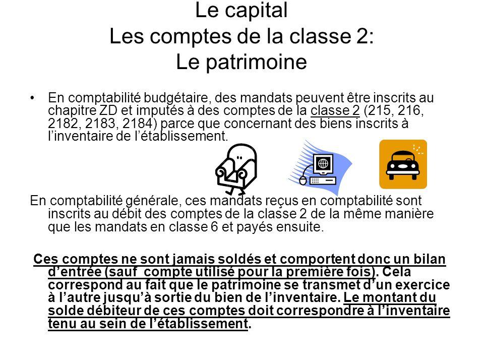 Le capital Les comptes de la classe 2: Le patrimoine