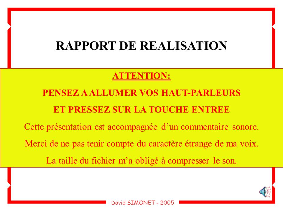 RAPPORT DE REALISATION