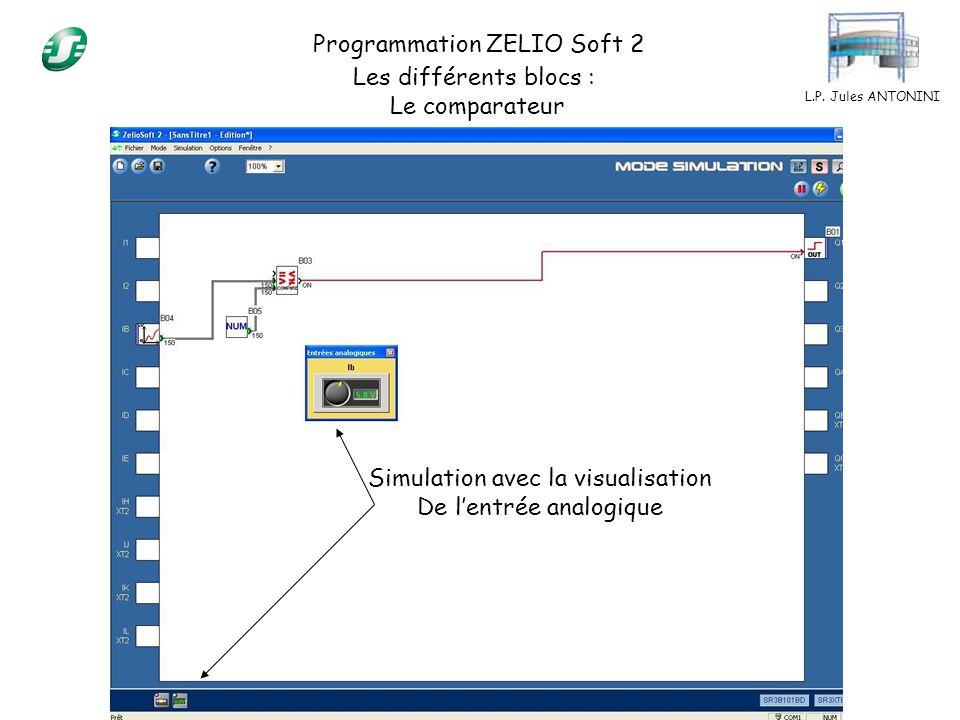 Programmation ZELIO Soft 2 Les différents blocs : Le comparateur