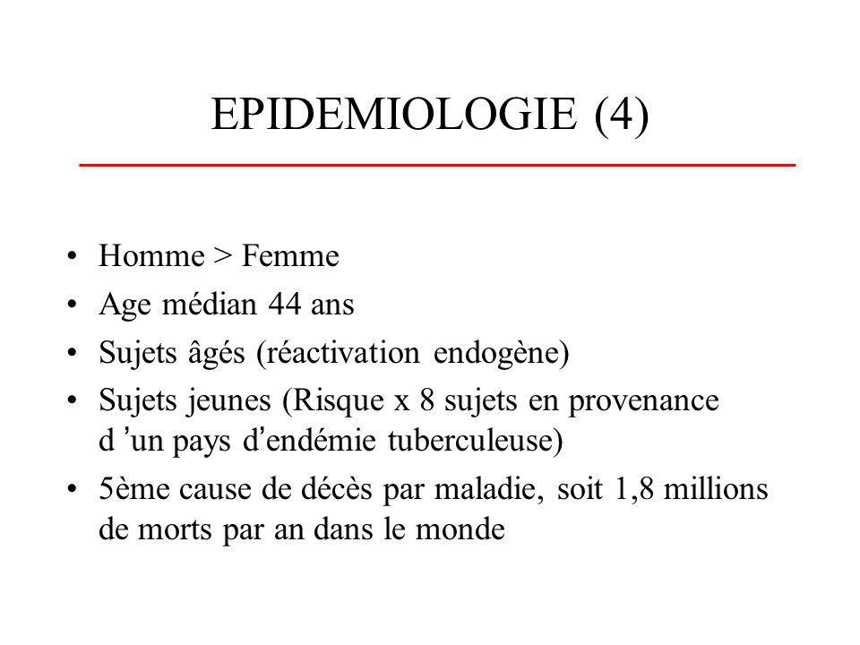 EPIDEMIOLOGIE (4) Homme > Femme Age médian 44 ans