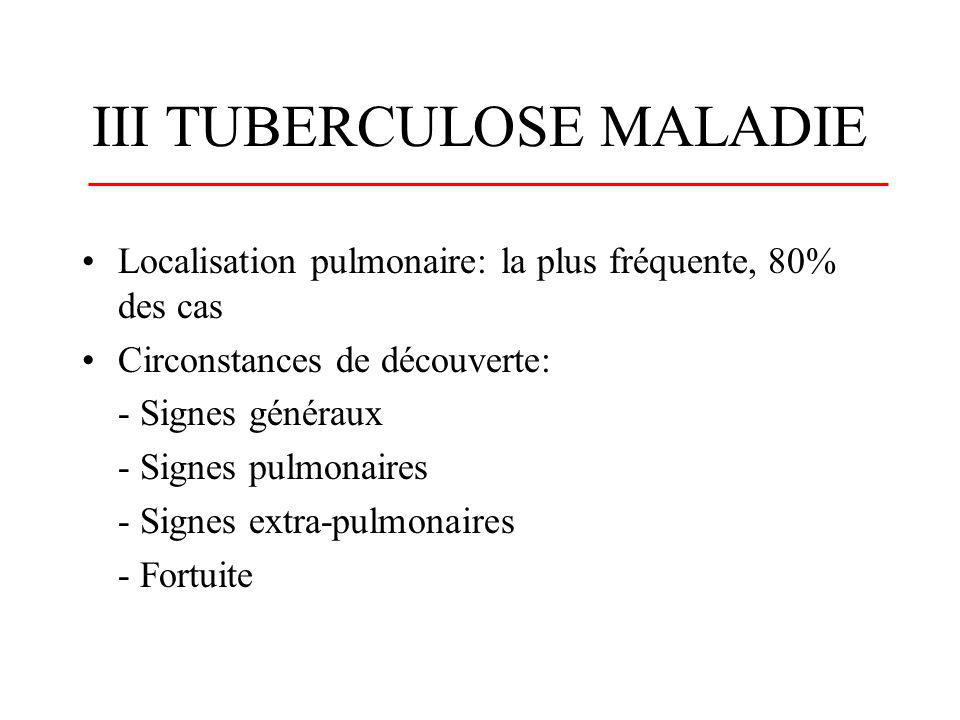 III TUBERCULOSE MALADIE
