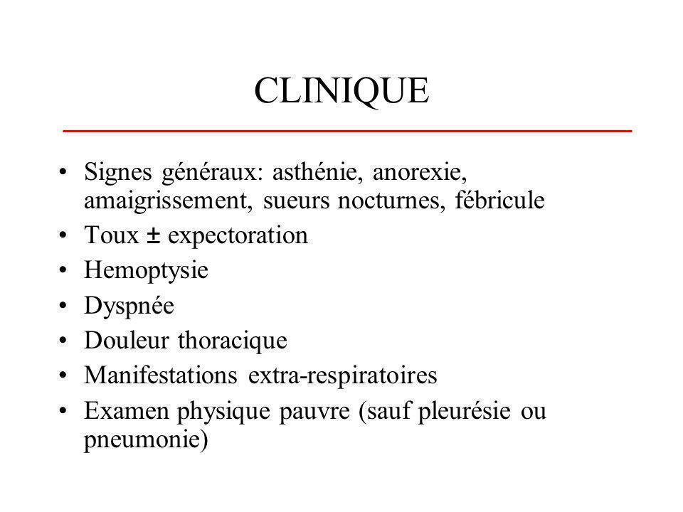 CLINIQUE Signes généraux: asthénie, anorexie, amaigrissement, sueurs nocturnes, fébricule. Toux ± expectoration.