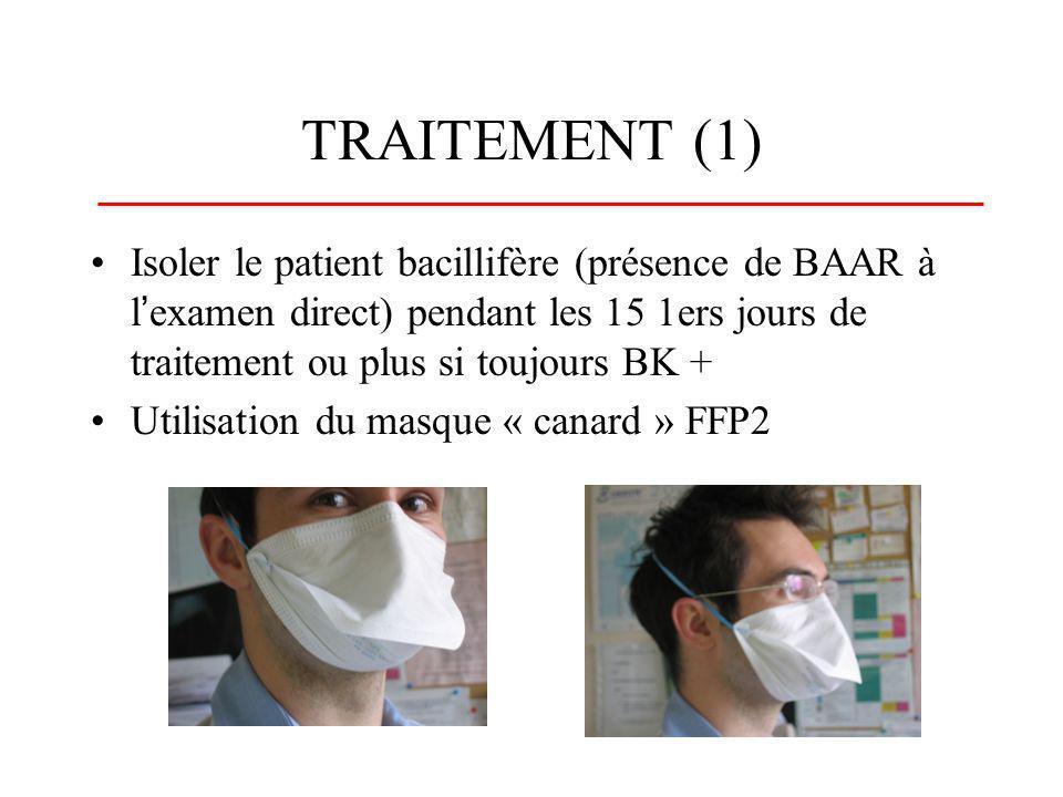 TRAITEMENT (1) Isoler le patient bacillifère (présence de BAAR à l'examen direct) pendant les 15 1ers jours de traitement ou plus si toujours BK +