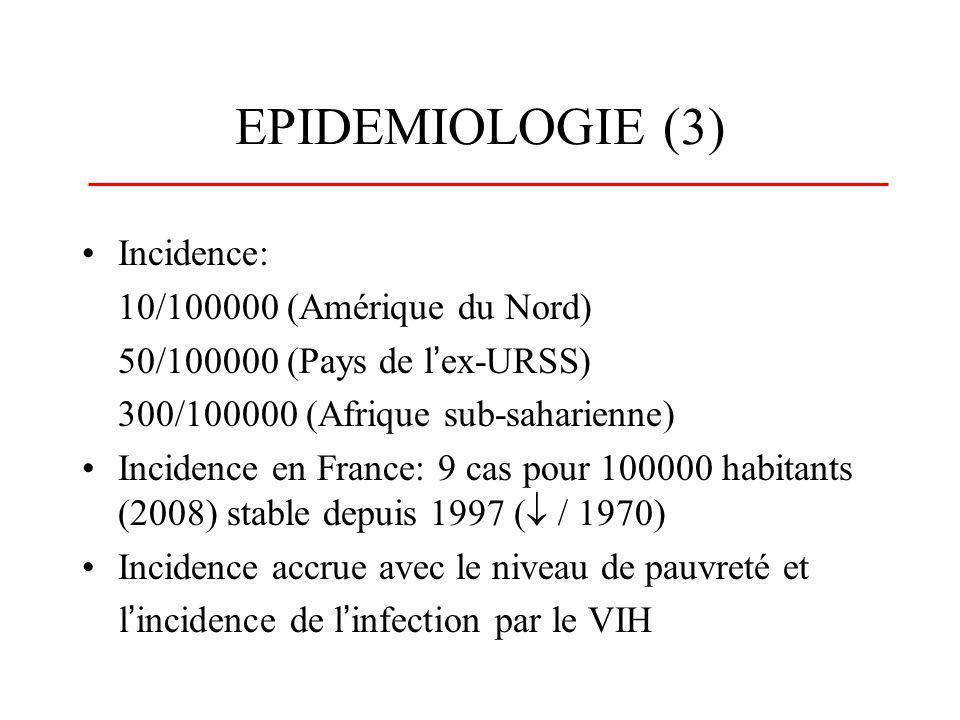 EPIDEMIOLOGIE (3) Incidence: 10/100000 (Amérique du Nord)