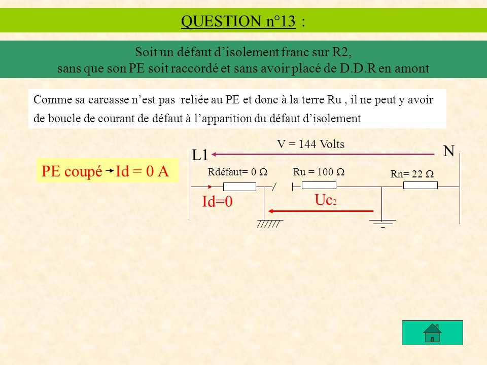 QUESTION n°13 : N L1 PE coupé Id = 0 A Uc2 Id=0