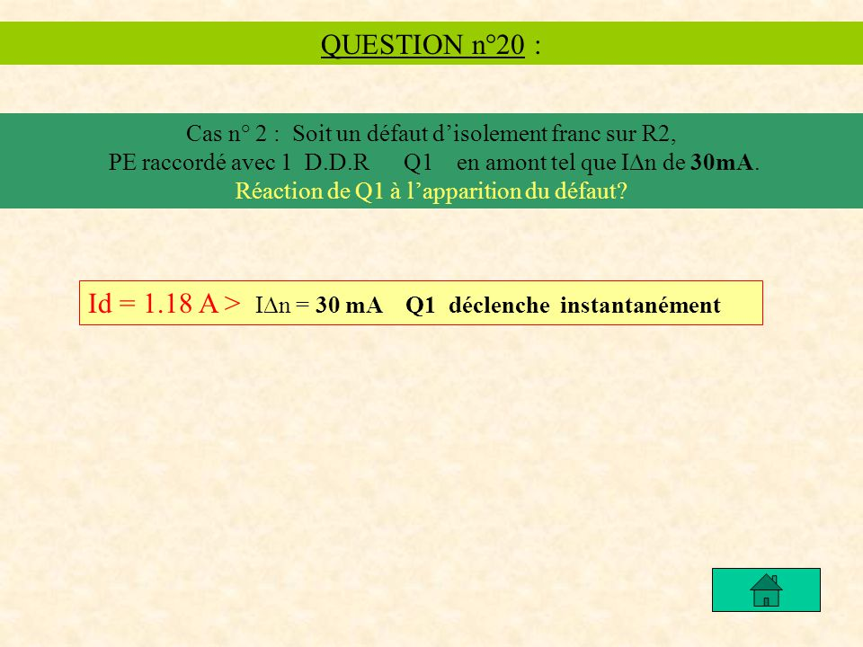 Id = 1.18 A > In = 30 mA Q1 déclenche instantanément
