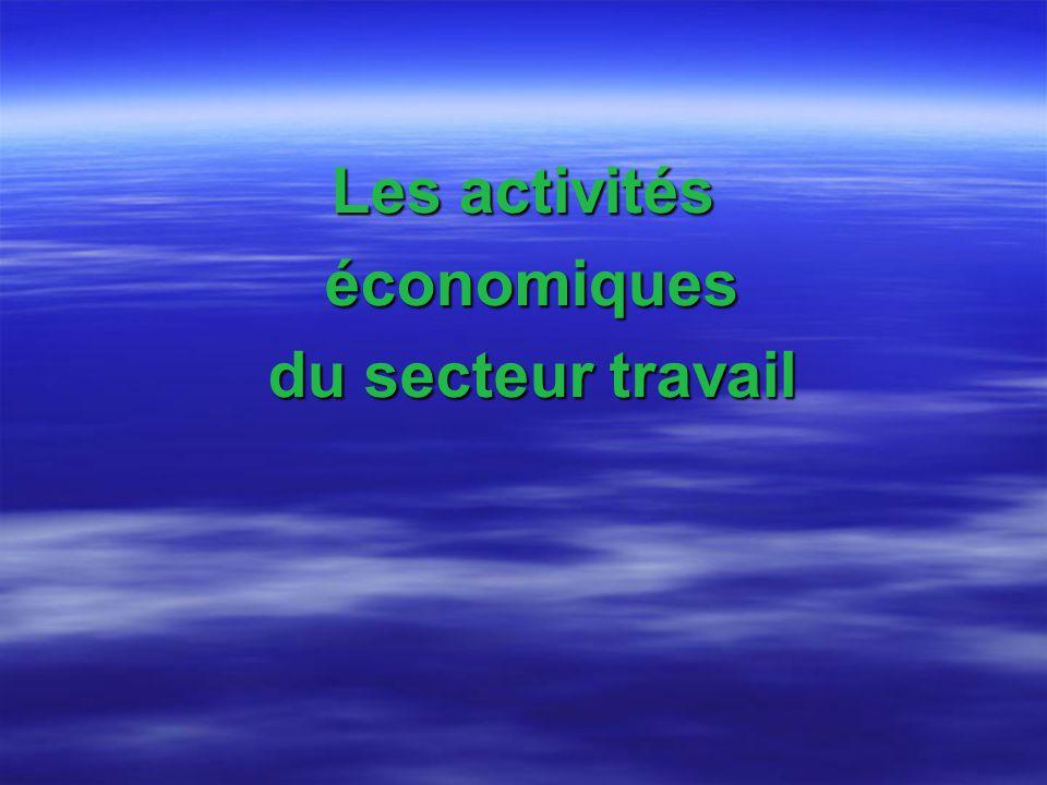 Les activités économiques du secteur travail