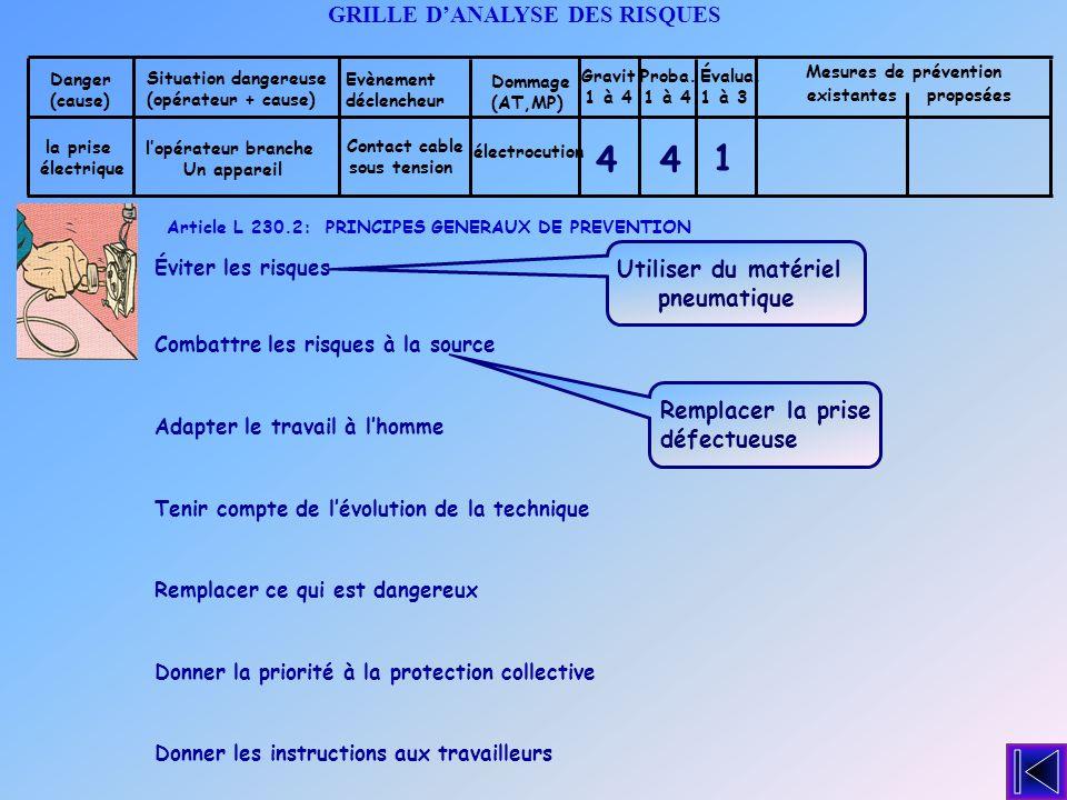 4 4 1 GRILLE D'ANALYSE DES RISQUES Utiliser du matériel pneumatique
