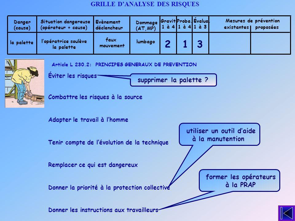 2 1 3 GRILLE D'ANALYSE DES RISQUES supprimer la palette