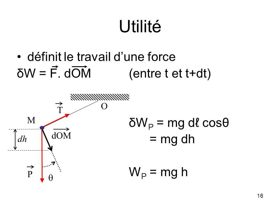 Utilité définit le travail d'une force δW = F. dOM (entre t et t+dt)