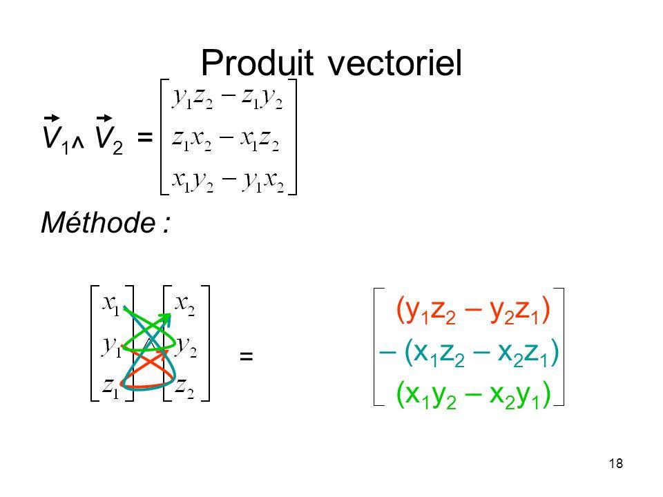 Produit vectoriel V1^ V2 = Méthode : (y1z2 – y2z1) – (x1z2 – x2z1)