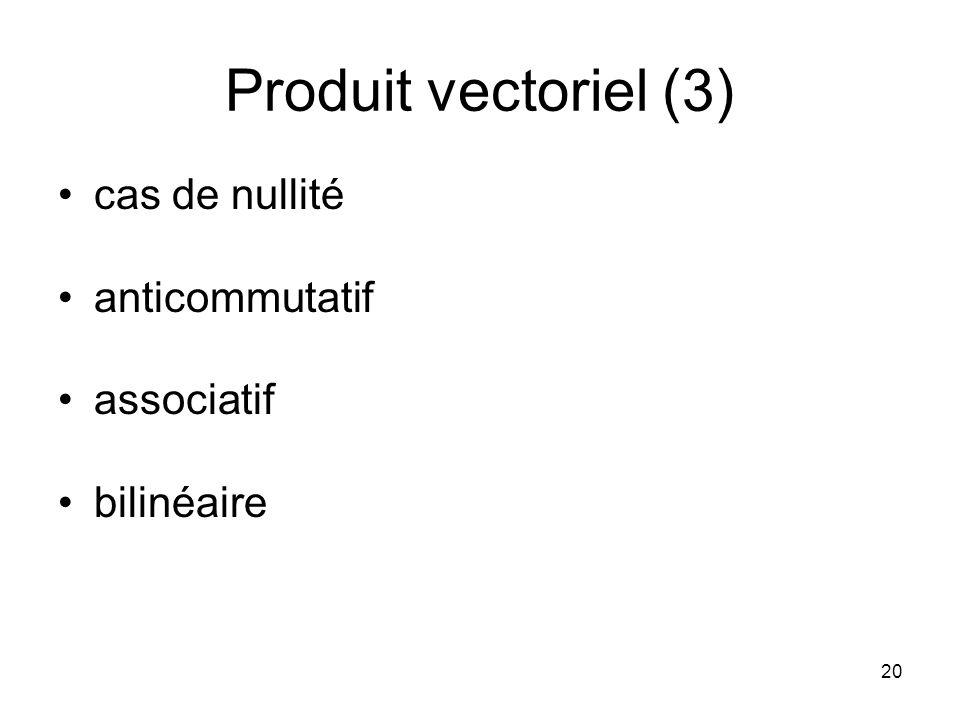 Produit vectoriel (3) cas de nullité anticommutatif associatif
