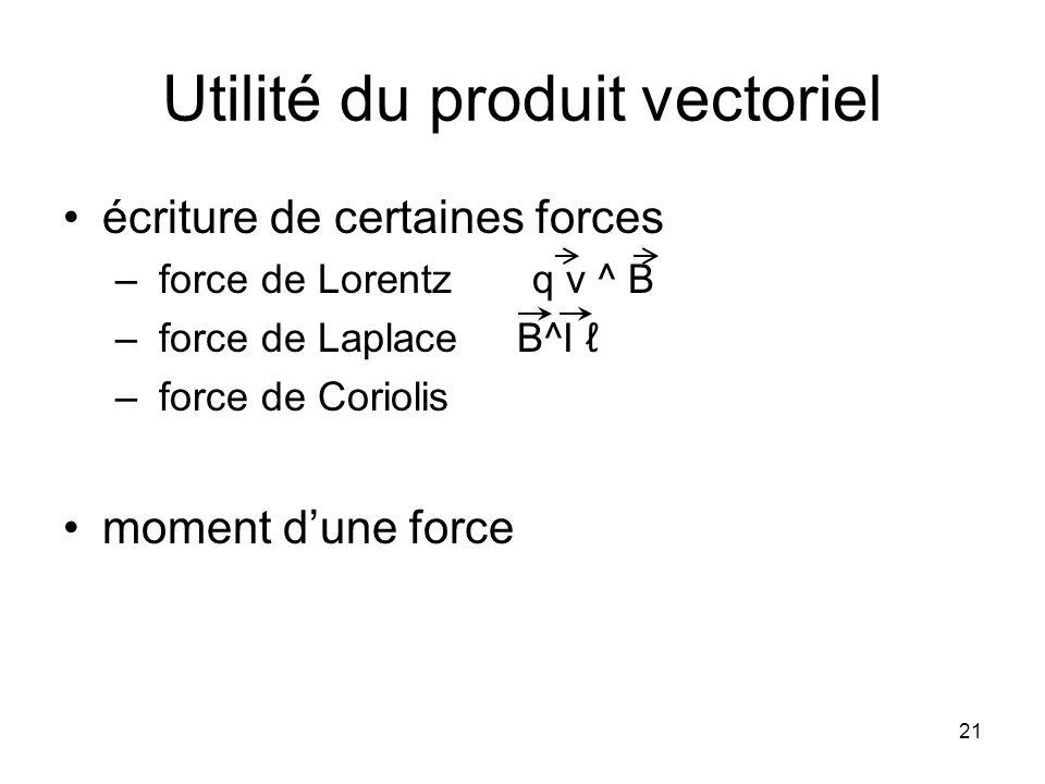 Utilité du produit vectoriel